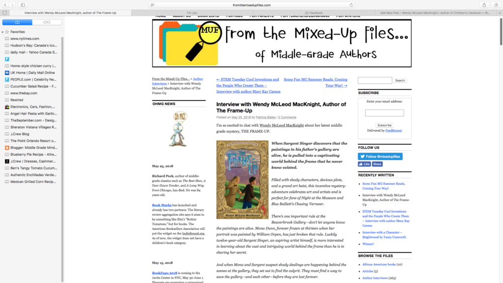 Interview with FROM THE MIXED-UP FILES Blog - Wendy McLeod MacKnight ...