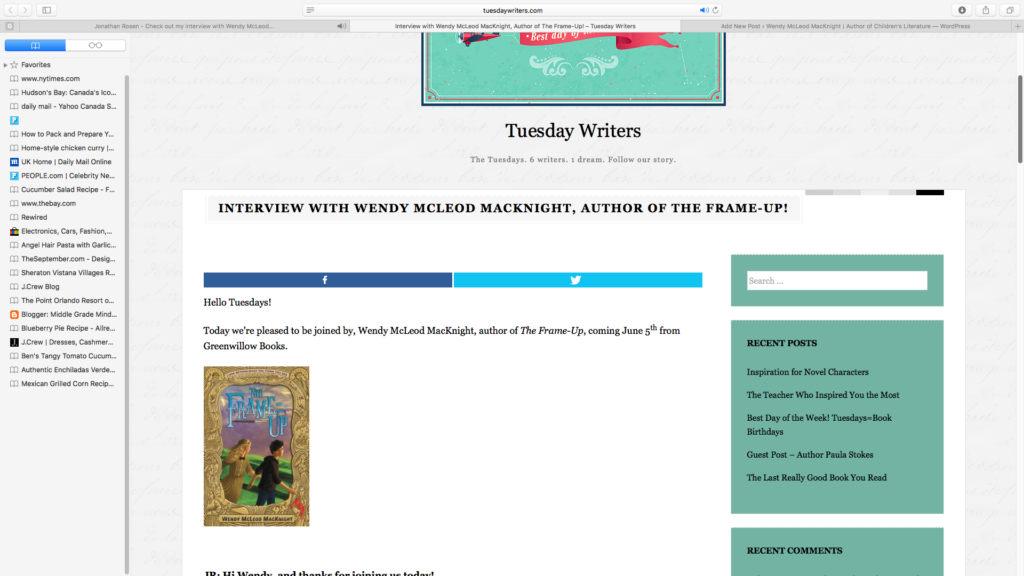 Tuesday Writers Blog Interview - Wendy McLeod MacKnight